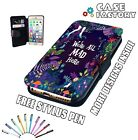 Were All Mad Here Alice Wonder Land Flowers Leather Flip Wallet Phone Case Cover