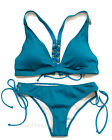 Victoria's Secret swim set PINK Ribbed Lace-Up Racerback Triangle cheekster Teal $79.0 USD on eBay
