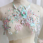 3D Flower Embroidery Lace Bridal Applique Beaded Pearl Tulle DIY Wedding Dress