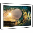 SC549 Blue Yellow Grey Wave Nature Landscape Framed Wall Art Large Picture Print