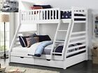 Maine Triple Sleeper Bunk Bed Frame Solid Wood 2 Storage Drawers Various Colours