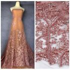 2018 New handmade beading crystl 3D flowers evening ddress lace fabric 1yard