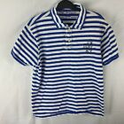 Polo Jeans Co Ralph Lauren Medium Blue White Stripe SS Polo Shirt