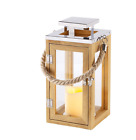 Wooden Candle Lantern Garden Rope Handle 26cm High Battery Operated LED NEW