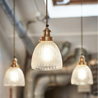 Ribbed Glass Cone Pendant Light Ceiling Lamp 7 Inch wide Brass or Pewter NEW