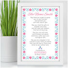 Personalised Christening Poem Gift for Baby Girl Goddaughter Baptism Girls Gifts