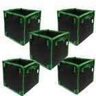 Square Fabric Grow Bag / Pot 5 Bags Garden Planting Bags With Green Hand
