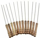 12PCS BBQ Skewers Nontoxic Stainless Steel Barbecure Forks with Wooden Handle