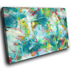 ZAB1065 Teal Green Modern Retro Canvas Abstract Home Wall Art Picture Prints