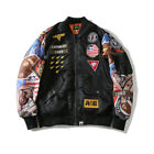 bape baseball jacket - Bape A Bathing Ape Thin Monkey Head Badges Flight Bomber Jacket Baseball Coat