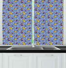 """Yellow and Blue Kitchen Curtains 2 Panel Set Window Drapes 55"""" X 39"""" Ambesonne"""