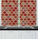 """Red and Brown Kitchen Curtains 2 Panel Set Window Drapes 55"""" X 39"""" Ambesonne"""