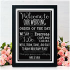 Welcome To Our Wedding Order Of The Day Wedding Signs for Wedding Reception