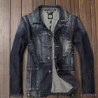 Mens Young Spring Autumn Denim Coat Slim Fit Vintage Fashion Jackets US XS-XL