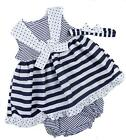 Baby Dress Striking Navy and White with Sailor Coller 12-18m and 18-24m