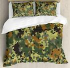 Camo Duvet Cover Set Twin Queen King Sizes with Pillow Shams Ambesonne