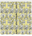 Grey and Yellow Pattern Shower Curtain Fabric Decor Set with Hooks 4 Sizes