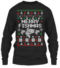 Custom-made Fishing Ugly Christmas Sweater - Gildan Long Sleeve Tee T-Shirt