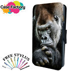 SERIOUS SILVER BACK COOL GORILLA - Leather Flip Wallet Phone Case Cover