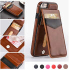 For iPhone 8 Plus X Slim Leather Wallet Credit Card Holder Stand Back Cover Case