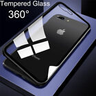 Magnetic Metal Frame Tempered Glass Back Cover Case For iPhone X 8 7 Plus / 6S 6
