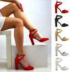 Womens Ankle Strap High Block Heel Sandals Ladies Closed Toe Court Shoes Size