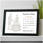 Wedding Calendar Gifts for Couples Personalised Bride and Groom Wedding Date