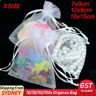 10-100pcs White Organza Bag 3 Size Sheer Bags Jewellery Wedding Candy Packaging