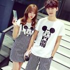 Couples Clothing Korean Short Sleeve Mickey Striped Suit Dress matching clothes