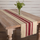 Vintage Stripe 100% Cotton Table Runner Red or Green and Natural*