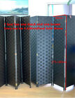 Solid Weave Made Folding Room Divider Screen Brown and Black Woven 4 Panel