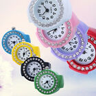 Fashion Women Girl Round Rhinestone Elastic Quartz Finger Ring Watch Natural image