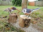 Hand Carved Made Wooden Long Tailed Tit Treecreeper Garden Bird Ornament Statue
