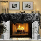 Ourwarm Halloween Party Supplies Fireplace Mantle Scarf Cover 243cm Black Lace