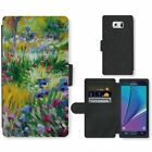 Phone Card Slot PU Leather Wallet Case For Samsung Field of flowers Claude Monet