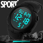 Fashion Waterproof Men's Boy LCD Digital Stopwatch Date Rubber Sport Wrist Watch image