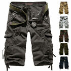Men's Elasticated Waist Cotton Cargo Combat 3/4 Long Length Shorts Kings Summer
