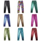 Kids Girls Shiny Scale Printed Slim Long Pants Mermaids Leggings Tight Trousers