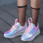Women Patent Leather Laser High Wedge Creepers Lace Up Runing Sneakers US 4.5-8