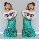 2Pcs Toddler Kids Girl Mermaid T Shirt Top Long Dress Skirt Outfits Set Clothes