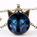 Uk_ Unisex Jewelry Wolf Head Pendant Cabochon Long Chain Sweater Necklace Dreame