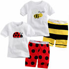 Kids Baby Boy Cartoon Cotton T-shirt Tops Short Pants Shorts