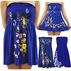 Womens Royal Blue Floral Leaves Butterfly Printed Boob Tube Sheering Mini Tops