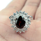 Love Attraction Natural 10x8 mm. Red Garnet_White CZ 925 Sterling Silver Ring L1