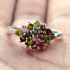 Glowing Natural 2.5mm Top Class Fancy Color Tourmaline Solid 925 Silver Ring L1