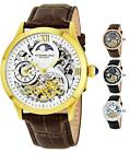 Stuhrling 571 Men's Dual Time Animated AM/PM Skeleton Double Barrel Dress Watch