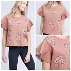 Snthropologie Chloe Oliver Embroidered Dusty Rose Flutter Sleeve Top Womens Sz L