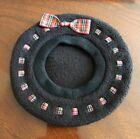 America. Girl Doll Vintage Black Beret with Tartan Trim And Bow