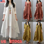 US Women Cotton Linen Maxi Dress Long Sleeve Casual Boho Kaftan Tunic Plus Size