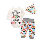 Newborn Baby Girl Boy Rainbow Romper Tops Jumpsuit+Pants Hat Outfits Clothes Set <br/> ❤️A++ Quality❤️60 Days Return❤️New Style❤️Free Shipping